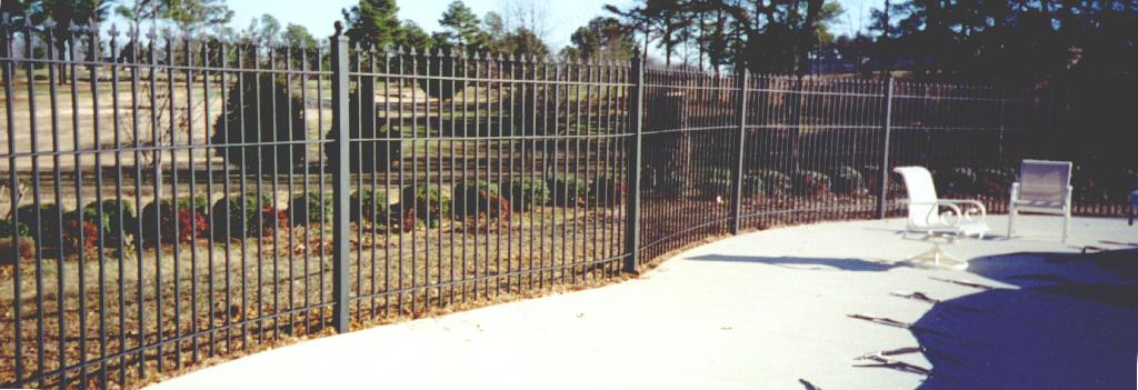 wrought iron fence curved