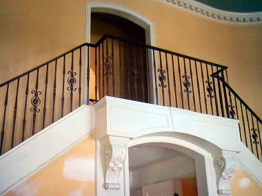wrought iron railing with forged pickets